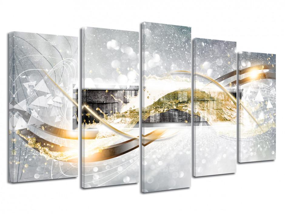 Tableau toile deco abstrait 5 panneaux