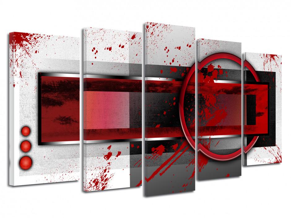 Tableau abstrait multipanneaux jet de peinture