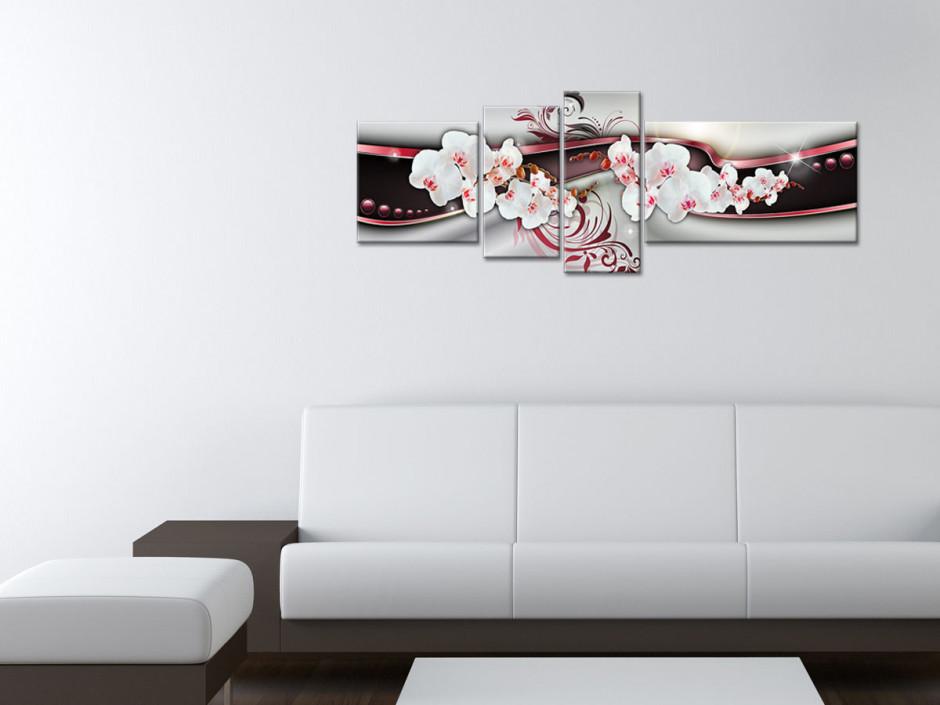 Tableau toile deco abstrait et orchidée