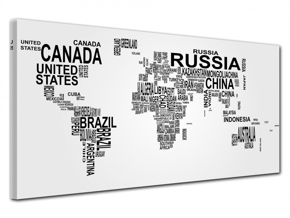 Tableau toile deco Carte du Monde nom de Pays