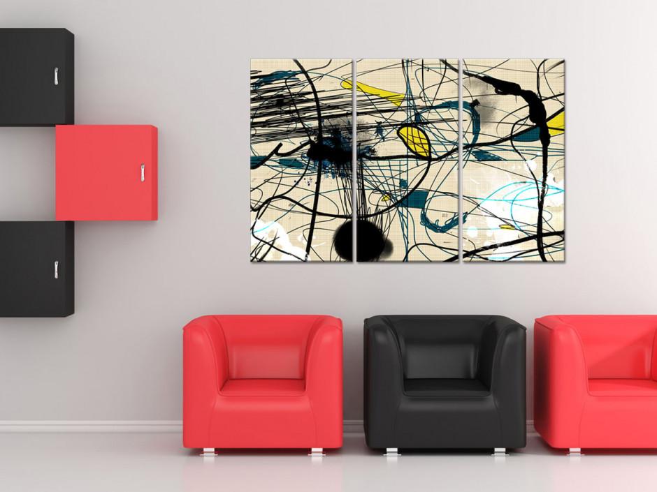 Tableau moderne triptyque ligne abstraite