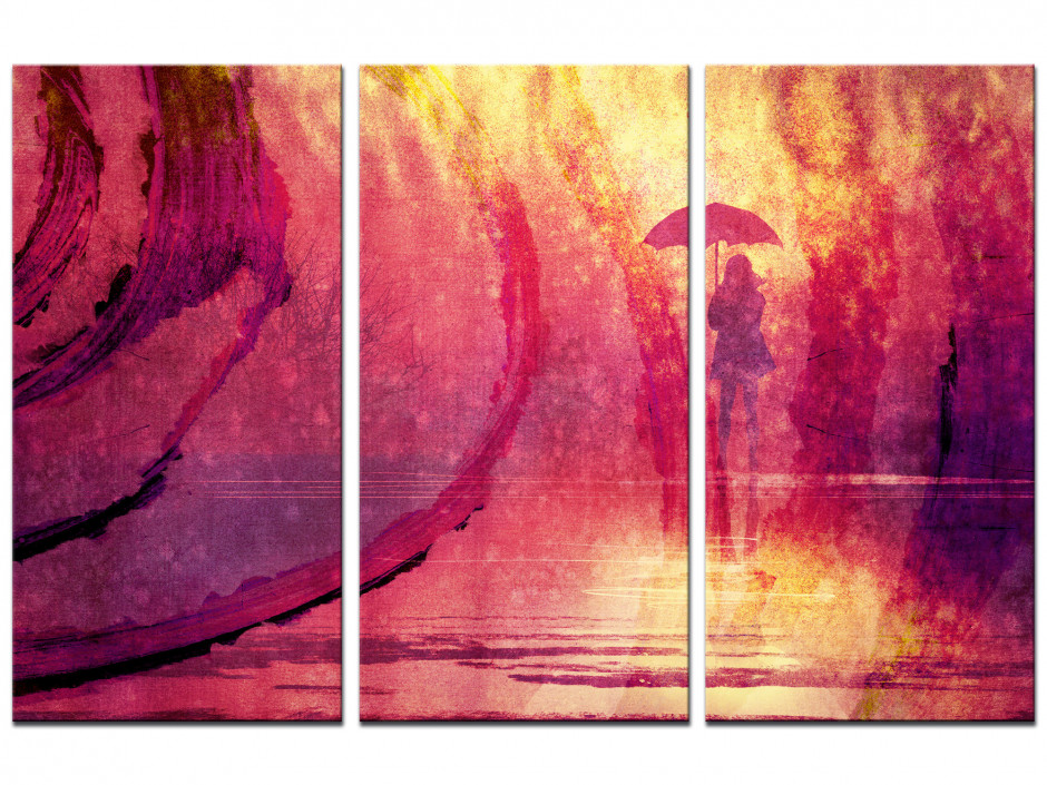 Tableau triptyque design sous la pluie