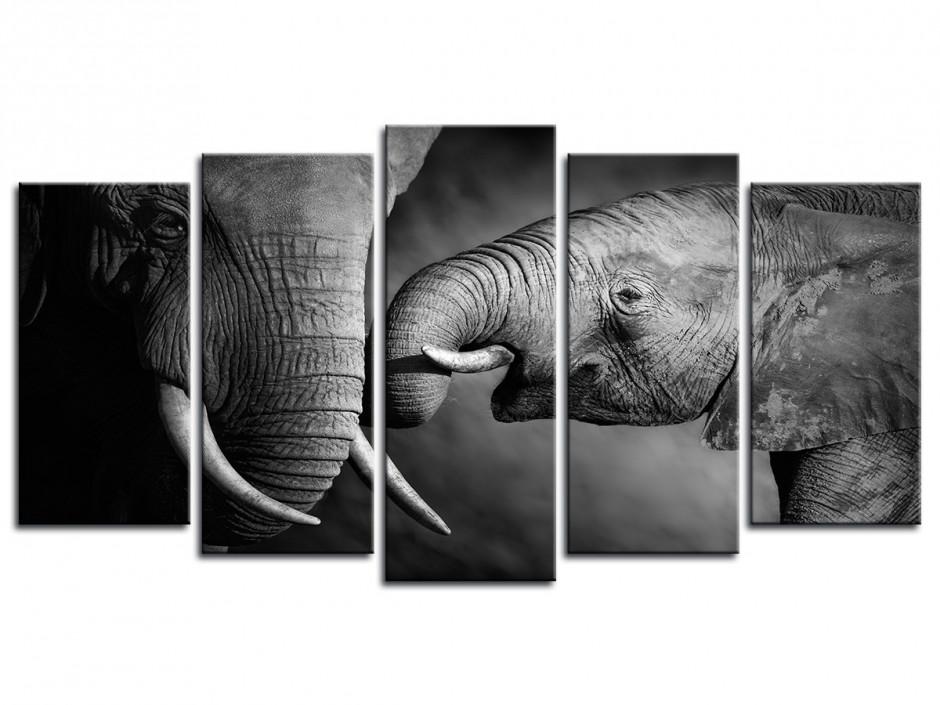 Tableau en 5 panneaux Les Eléphants