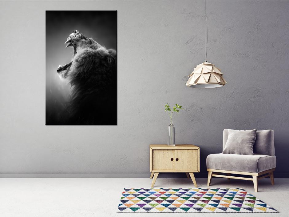Tableau toile déco moderne rugissement du lion