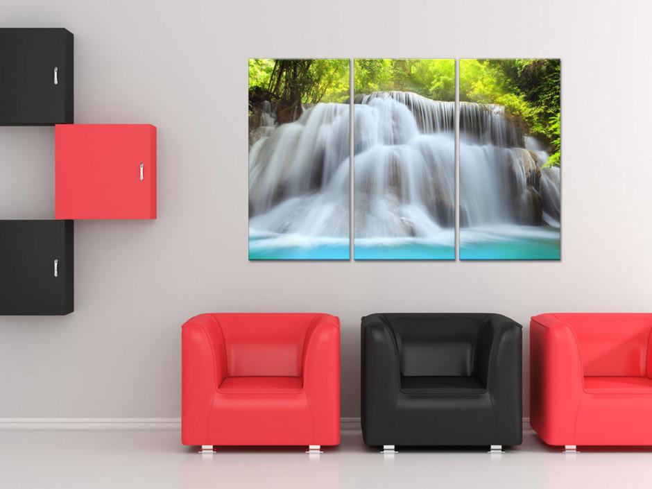Tableau triptyque paysage Chute d'eau
