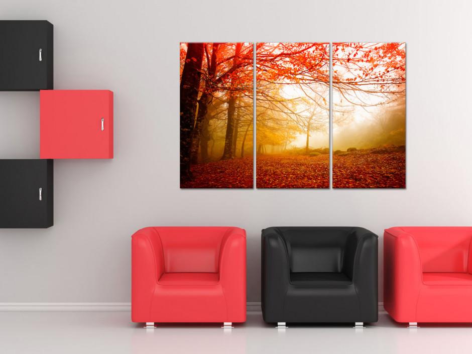 Tableau toile triptyque paysage de foret en Automne