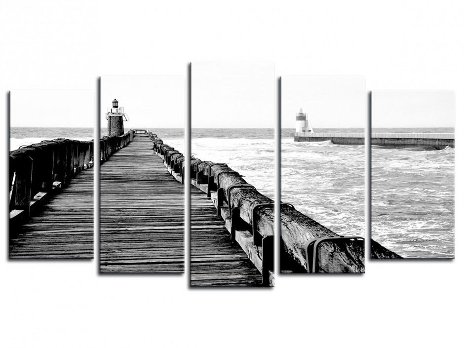 Tableau Estacade de Capbreton en noir et Blanc Multipanneau