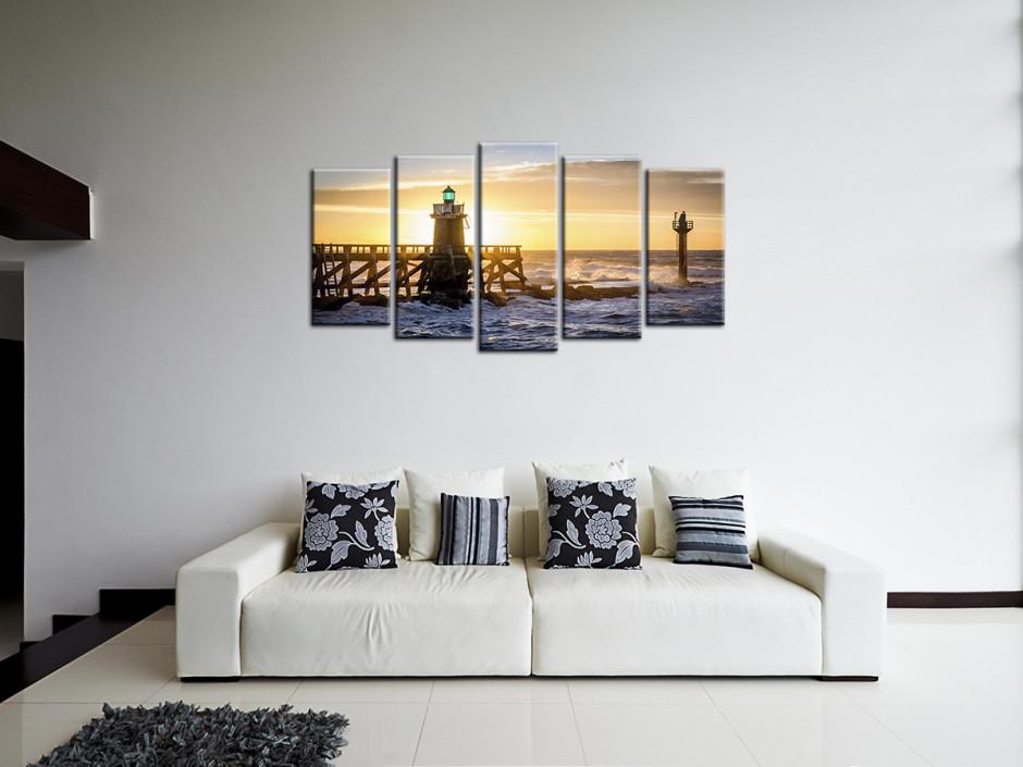 Tableau toile décoratif multipanneau coucher de soleil sur l'estacade de Capbreton