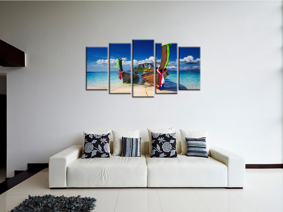 Tableau cadre toile imprimée Les PIROGUES