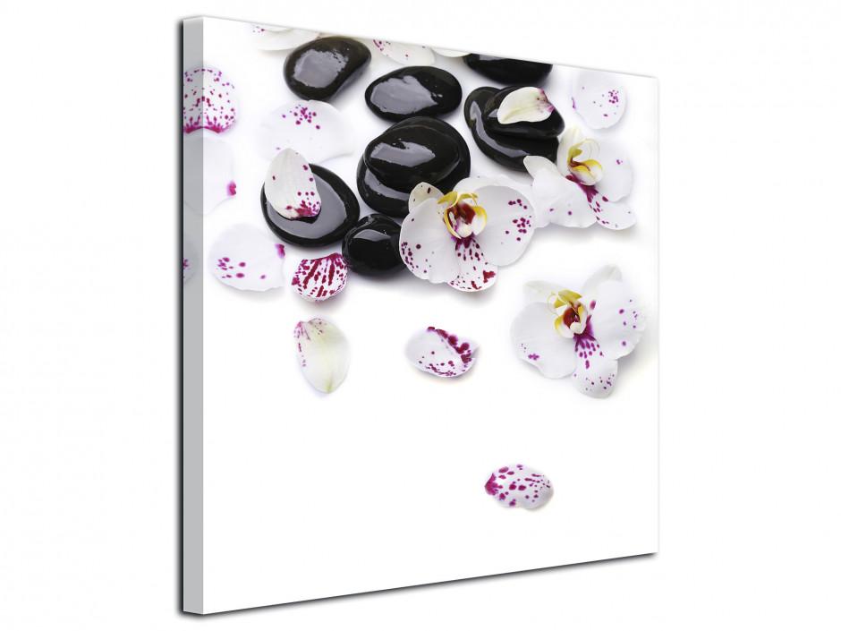 Tableau toile Orchidées et galet zen