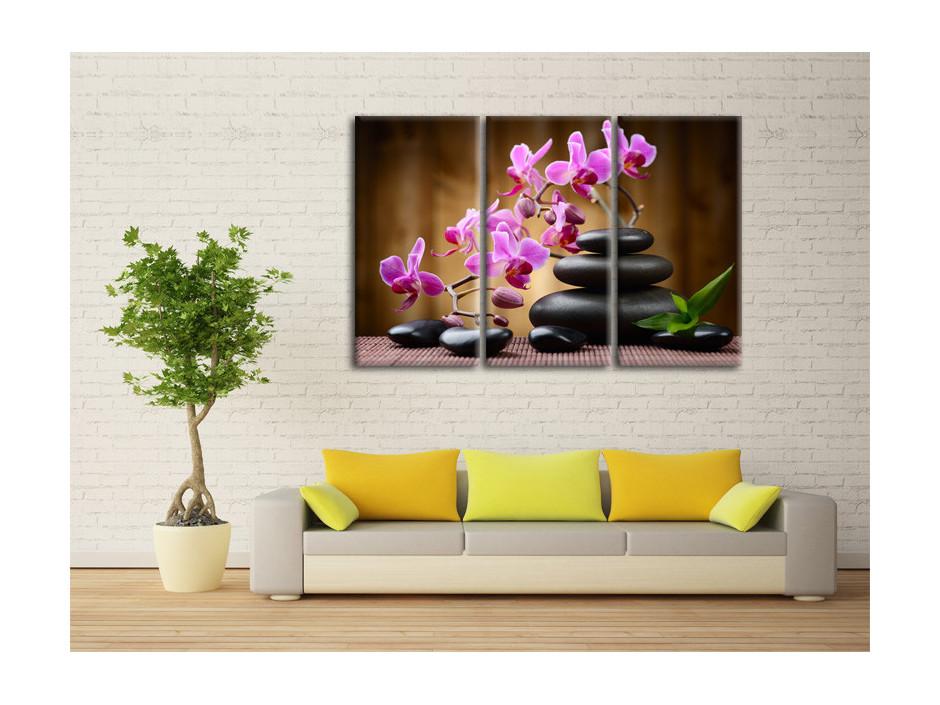 Tableau toile deco Orchidées et Galets