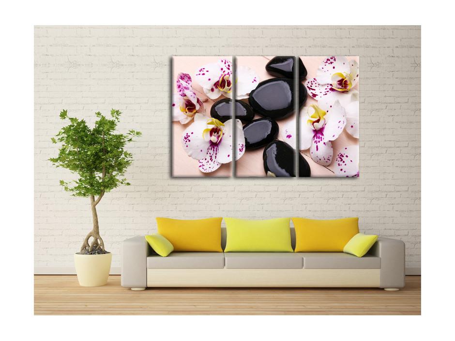 Tableau deco Orchidées et galets zen