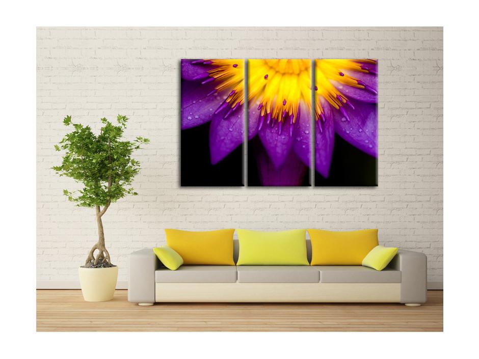 Tableau toile deco triptyque Fleurs de Lotus