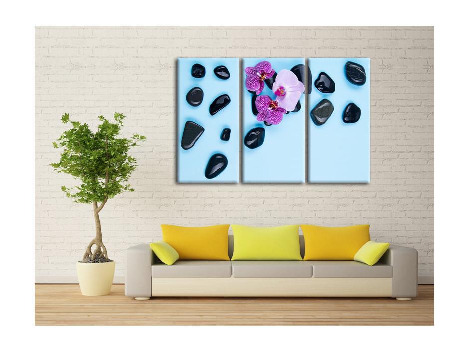 Tableau orchidée violet et galet zen