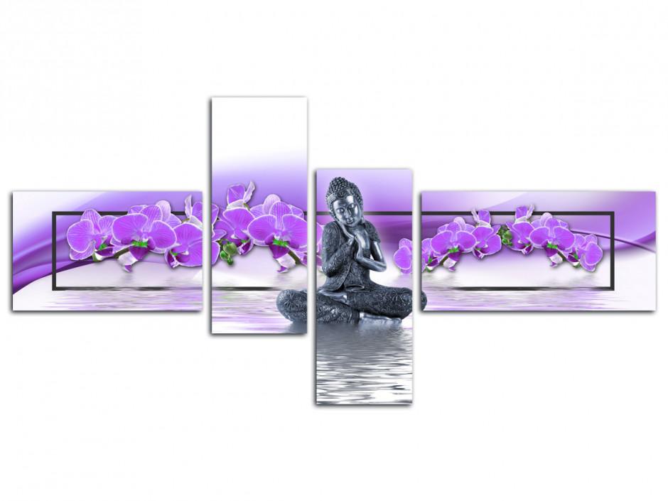Tableau toile deco Bouddha et Orchidée