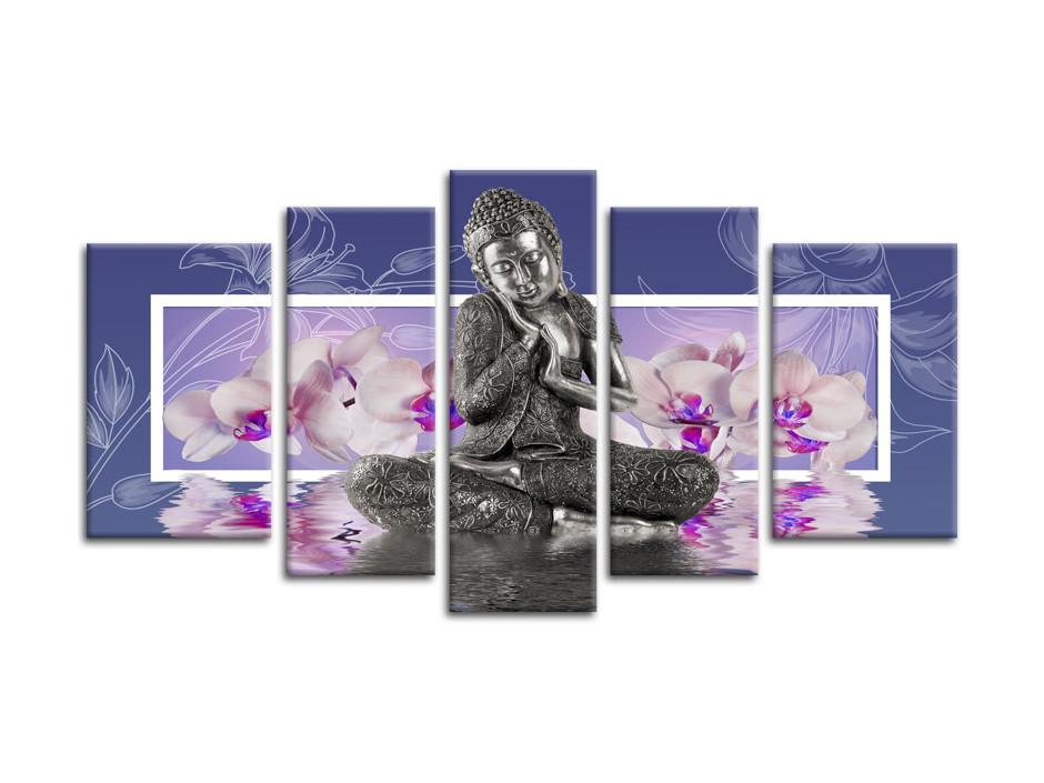 Tableau deco zen Bouddha et Fleurs