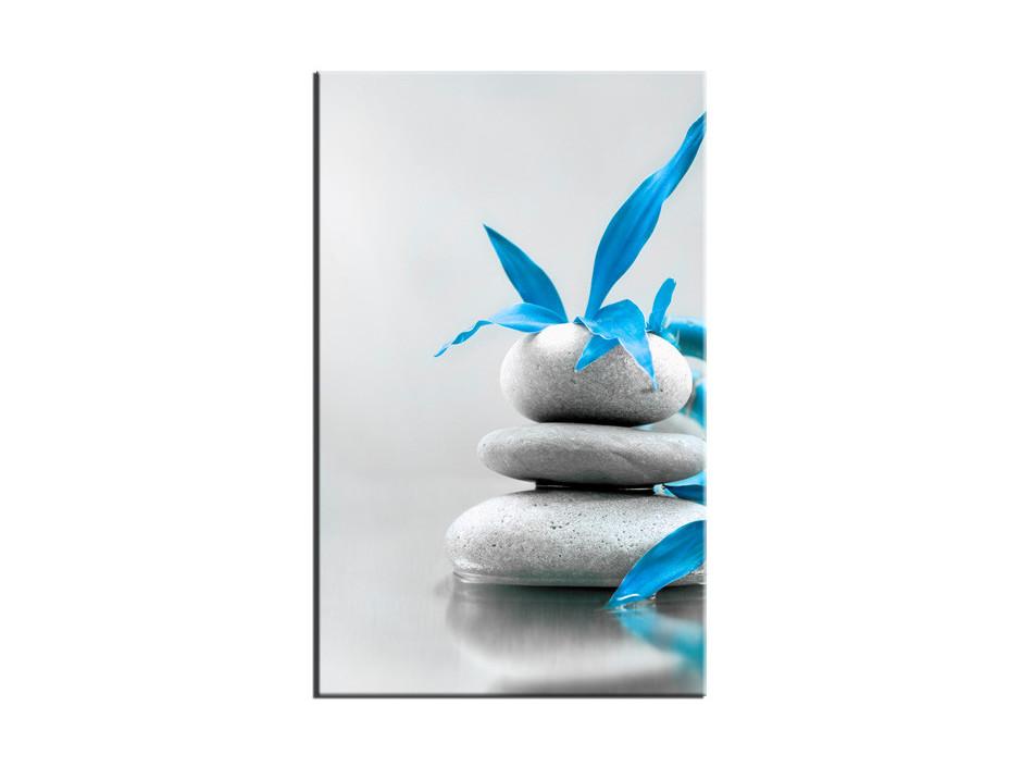 Tableau toile deco pierre zen et fleurs bleu