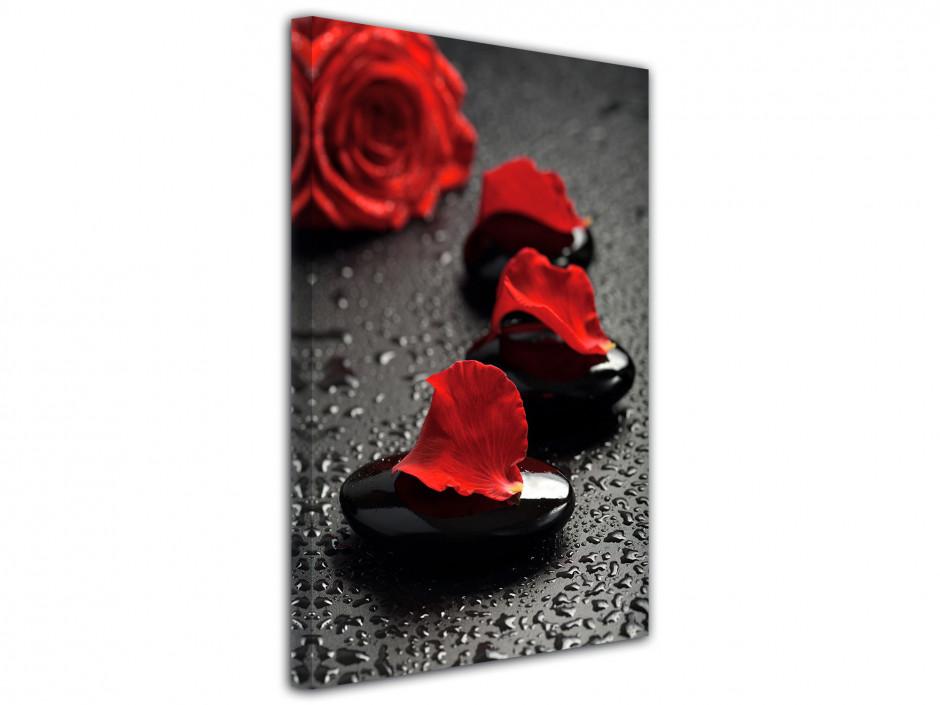 Tableau deco galet et rose rouge