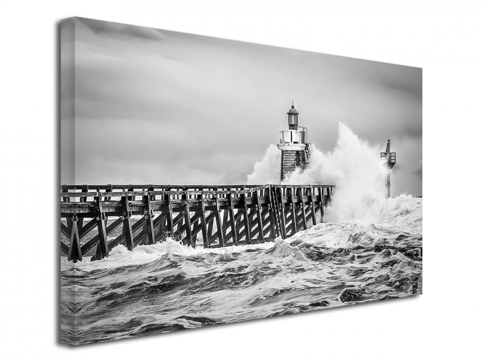 Tableau toile imprimée tempête sur l'estacade de Capbreton