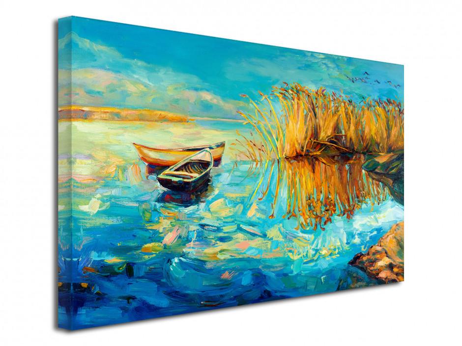 Tableau peinture décorative au bord du lac