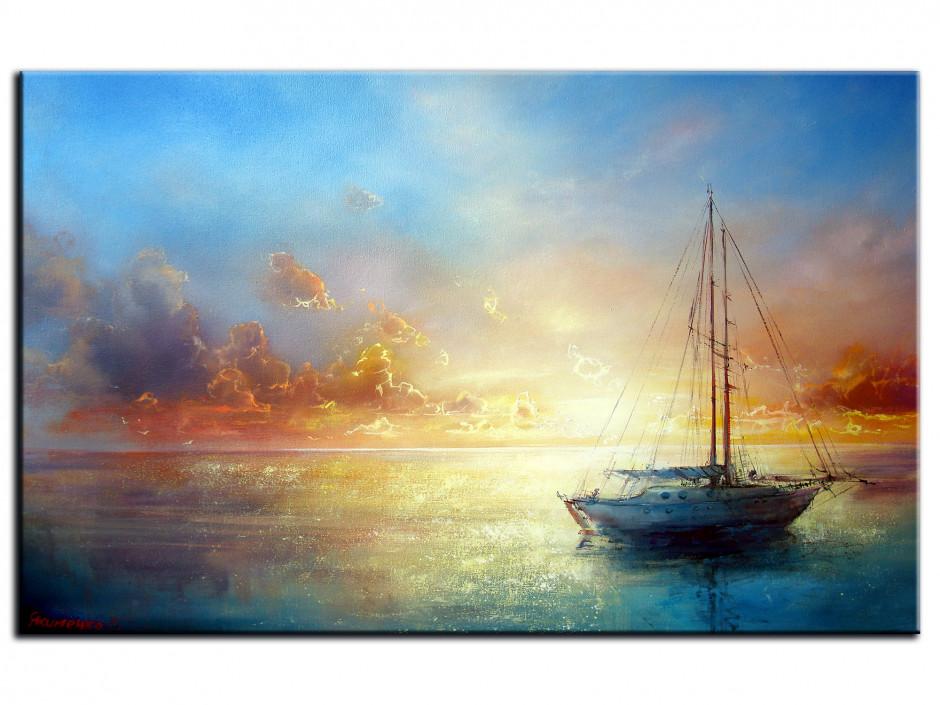 Tableau peinture toile Voilier en mer