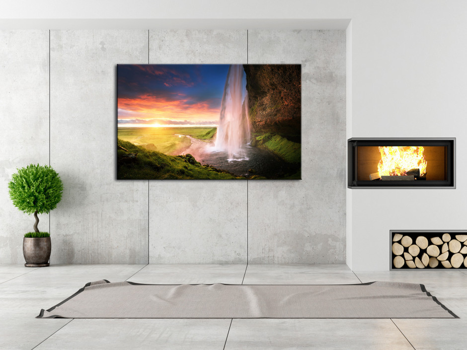 Tableau photo de paysage Cascade de Seljalandsfoss