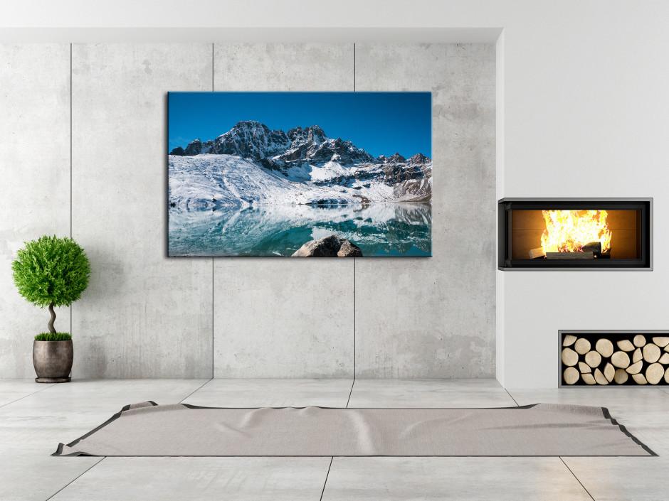 Tableau toile paysage lac de montagne enneigé