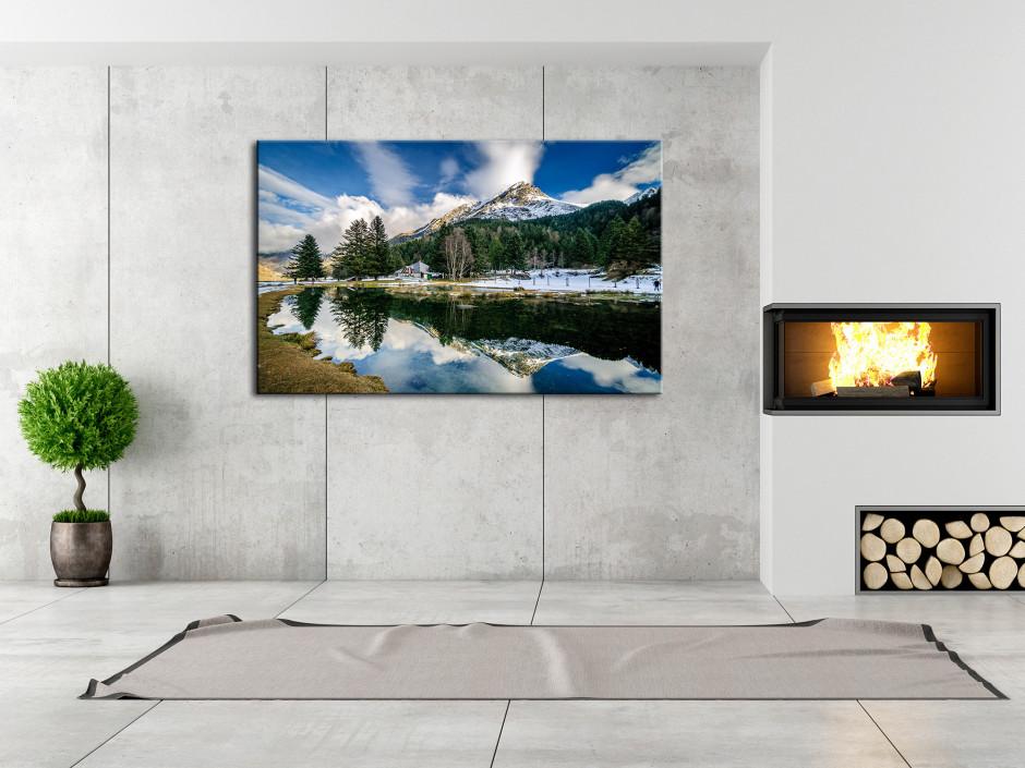 Tableau toile paysage REFLET SUR LE LAC D'ESTAING
