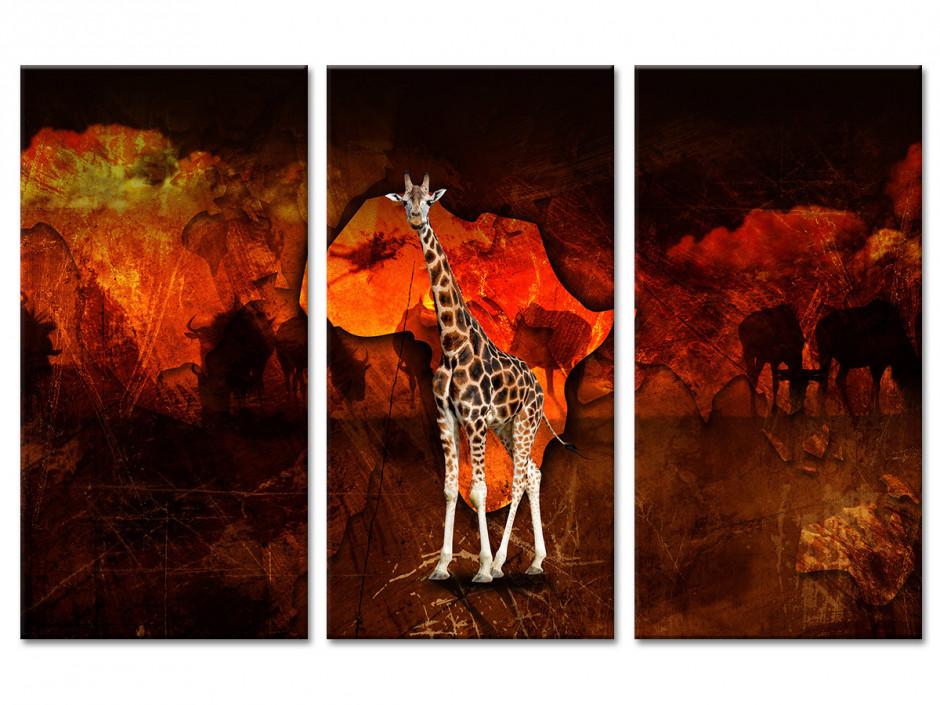 Tableau deco design Africain Girafe