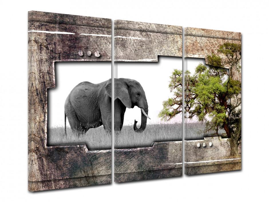 Tableau deco Africain triptyque Elephant