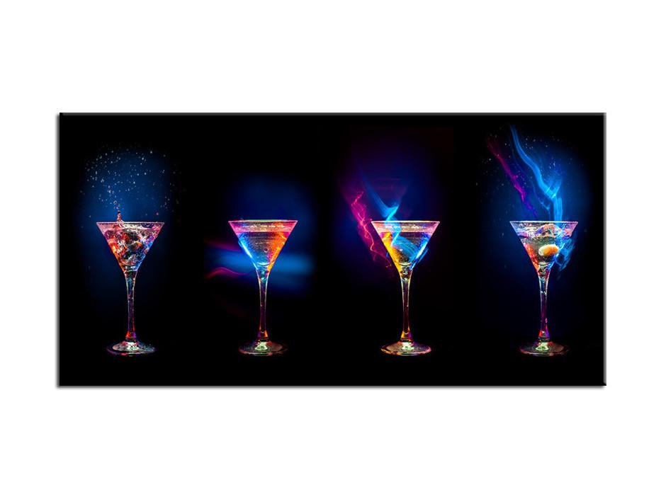 Tableau Aluminium design moderne Les Verres à Cocktail