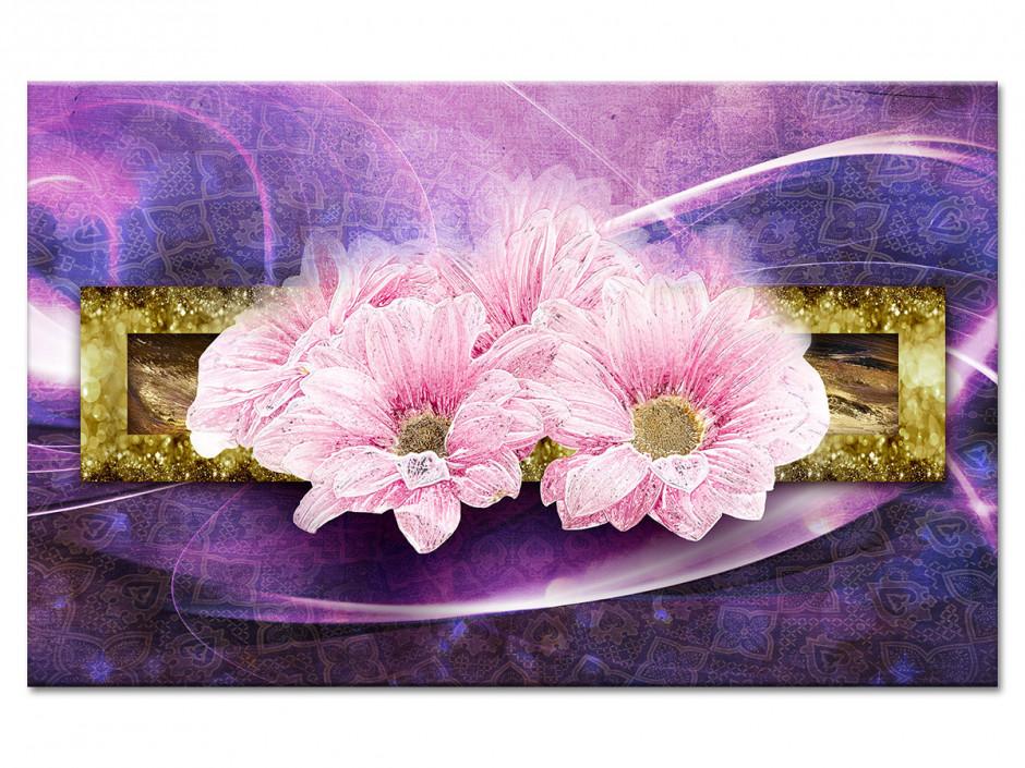 Tableau aluminium fleurs MARGUERITES ROSES