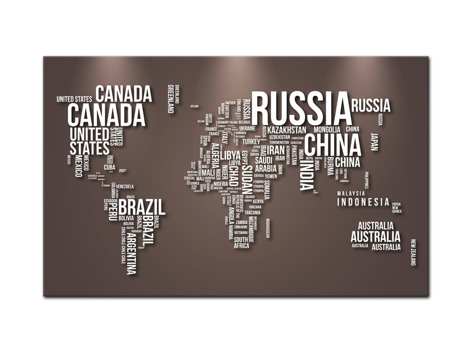 Tableau aluminium Nom de Pays et Carte du monde