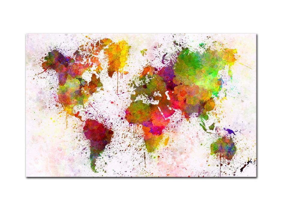 Tableau Aluminium moderne Carte du monde en Graff