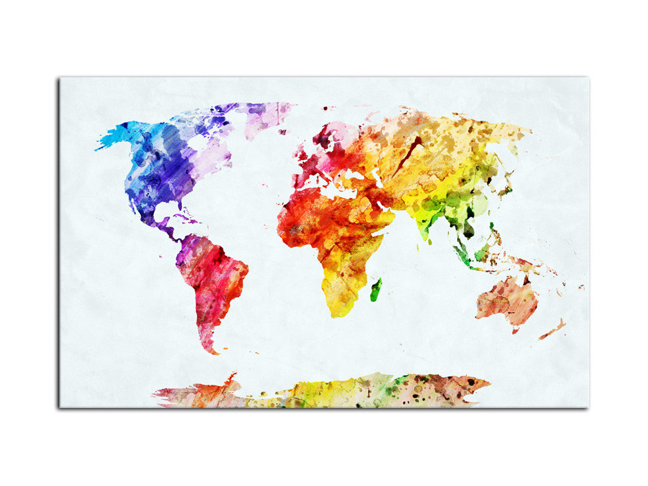 Cadre Aluminium moderne carte du monde coloré