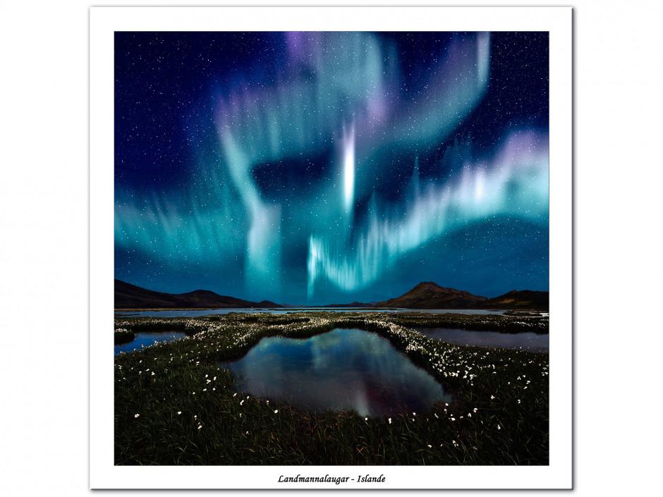 Tableau Aluminium photographie de paysage Aurore Boréale
