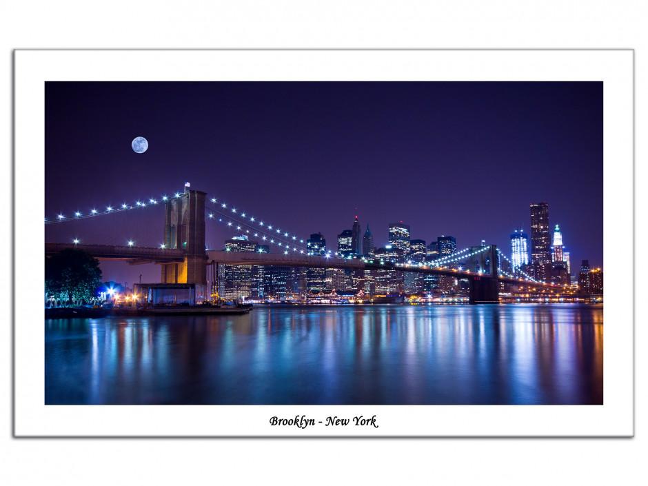Tableau Aluminium décoratif photo Brooklyn de nuit