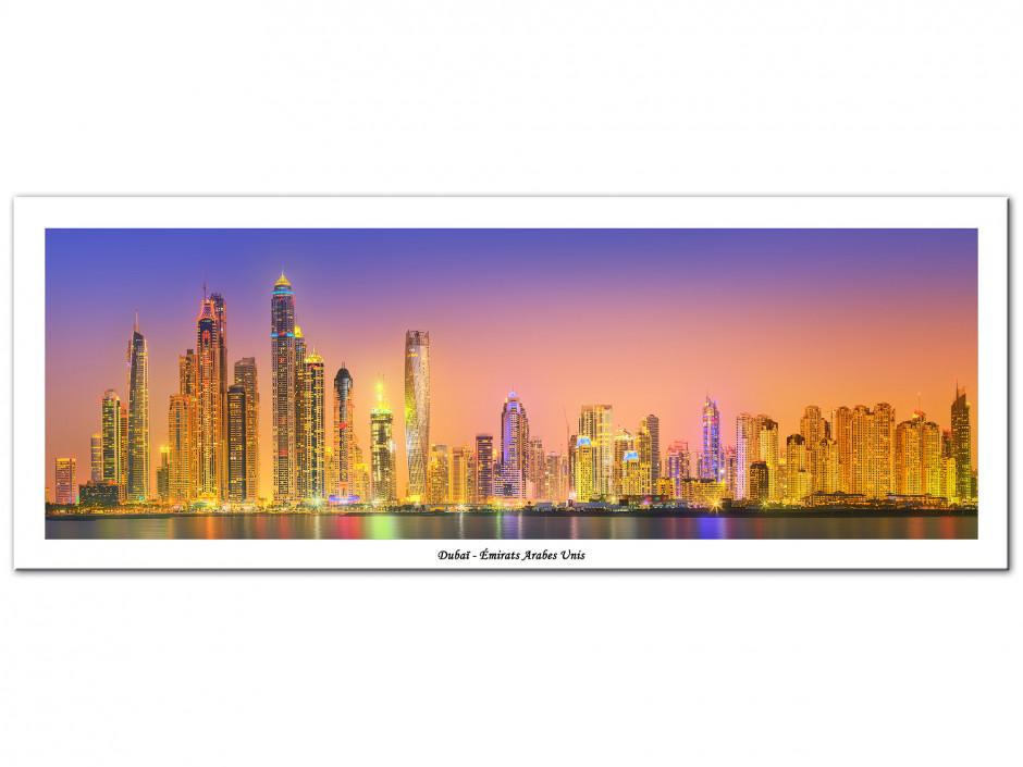 Tableau Aluminium photo panoramique DUBAI SUNSET