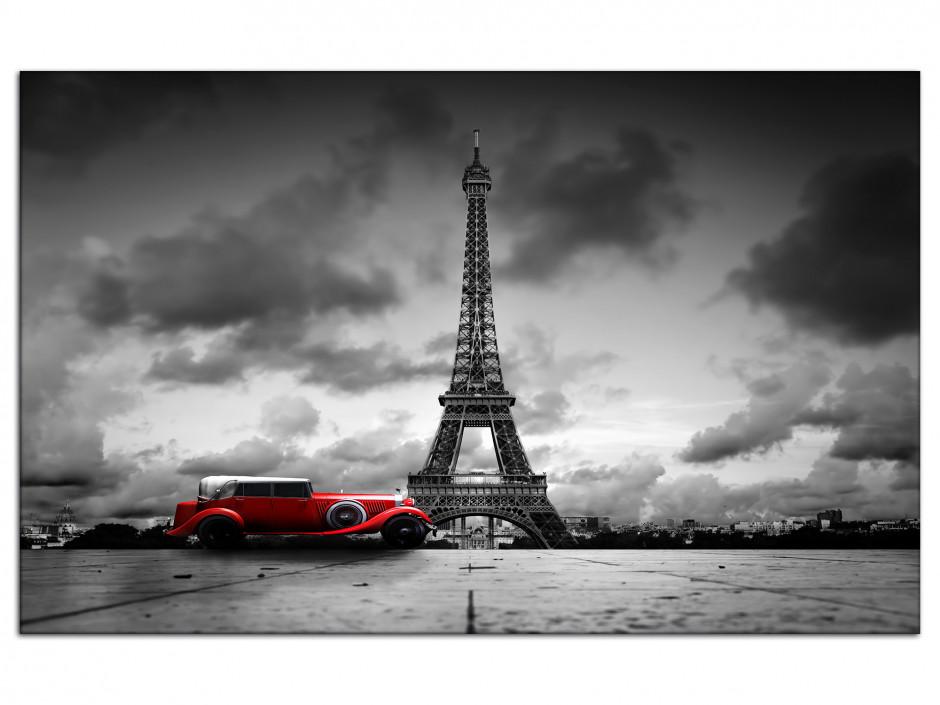 Tableau Aluminium deco Tour Eiffel et Vieille Voiture