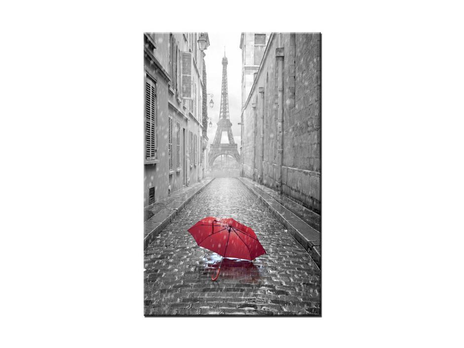 Tableau Aluminium decorative Tour Eiffel et Parapluie