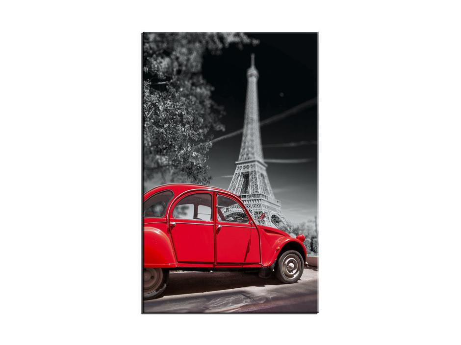 Tableau Aluminium décoratif Tour Eiffel et 2CV