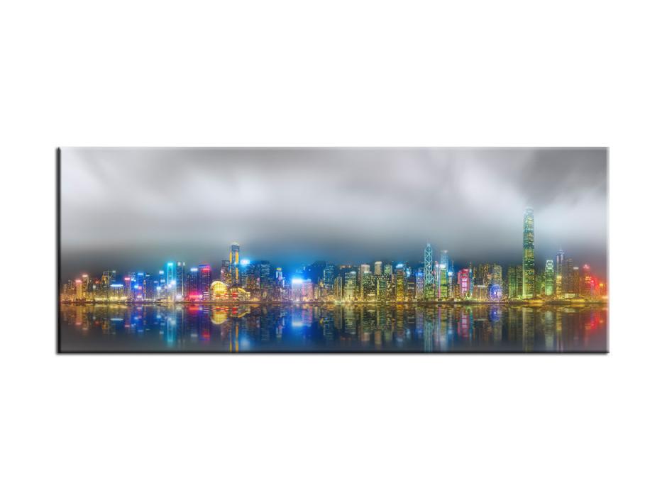 Tableau Aluminium deco Hong Kong de nuit