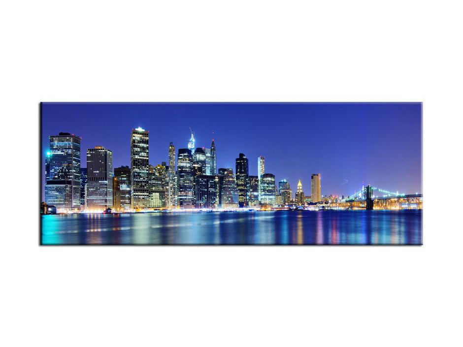 Tableau Aluminium panoramique Manhattan de Nuit
