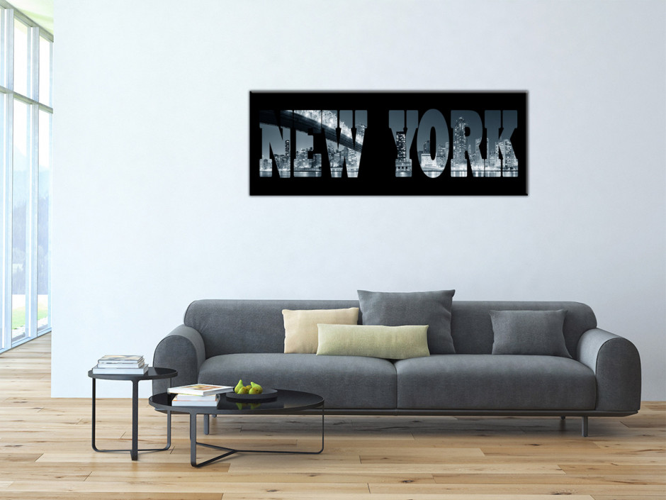 Tableau Aluminium décoratif lettrage New York