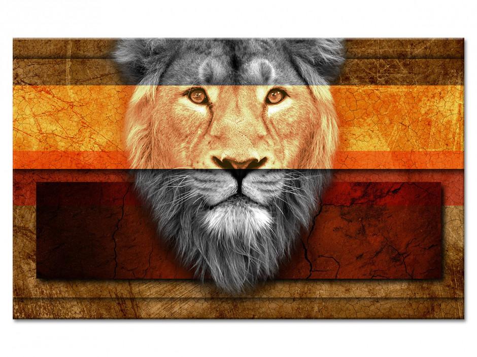 Tableau Aluminium décoratif Ethnique tête de Lion