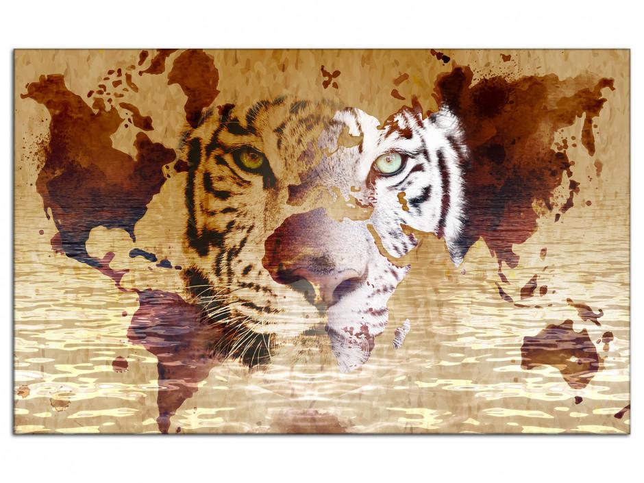 Tableau aluminium deco tête de Lion et Carte du monde
