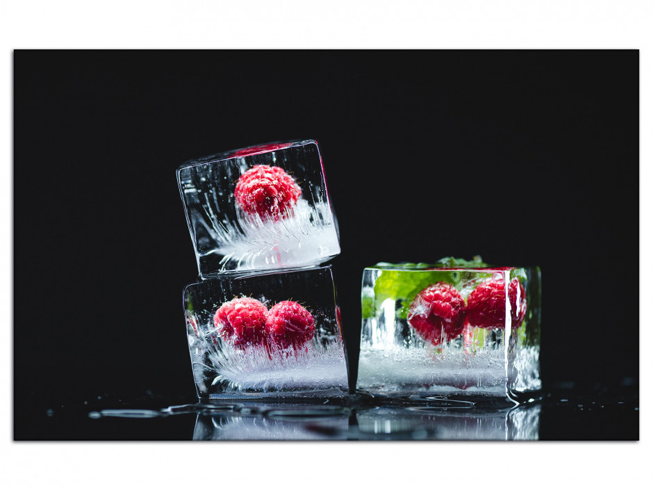 Tableau Aluminium décoratif Les Glaçons de Fruits rouges