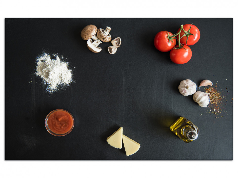 Tableau Aluminium deco cuisine Ingredients Pizza