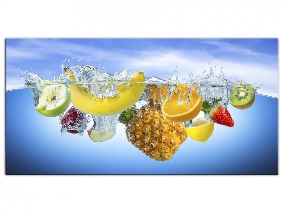 Tableau Aluminium décoration cuisine Les Fruits dans l'eau