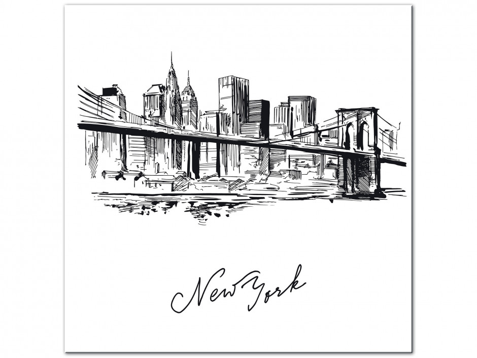 Tableau Aluminium moderne dessin New York